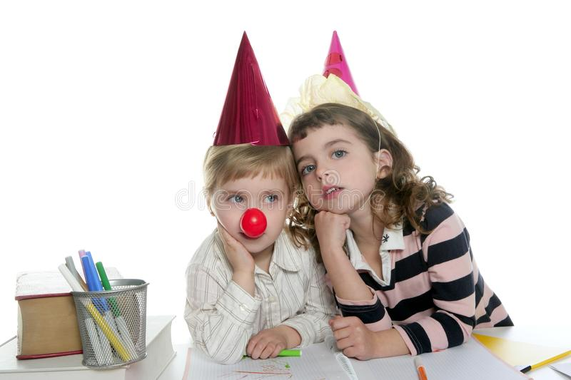 Party Student Two Little School Girls Royalty Free Stock Photography