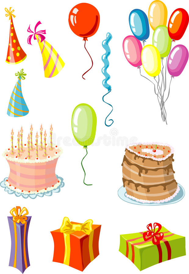 Party Stuff - Cake, Pie, Hats, Balloons, Gifts Stock Photos
