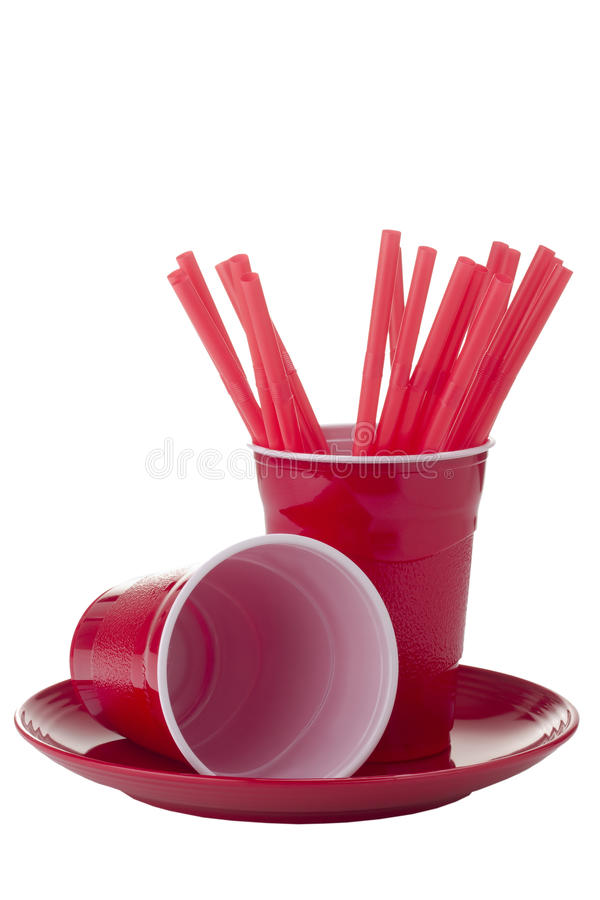 Party Supplies. Red party supplies isolated on a white background royalty free stock images