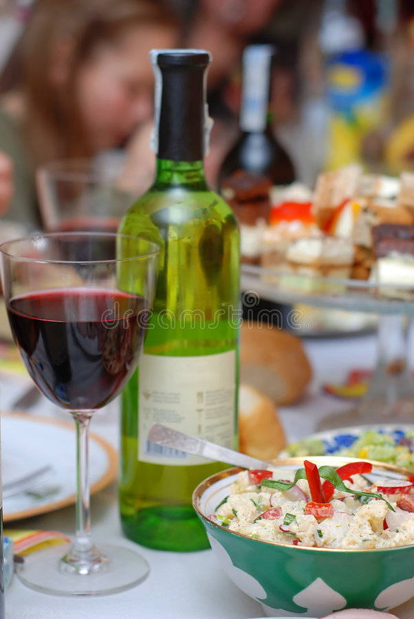 Party table in close-up stock images
