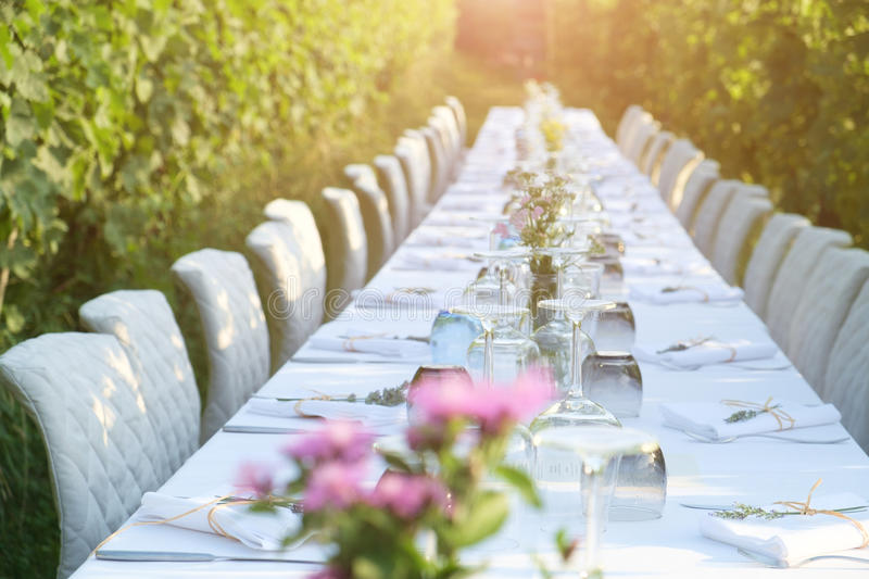 Party table set for a social event in the countryside. Party table set for social event in the countryside royalty free stock image
