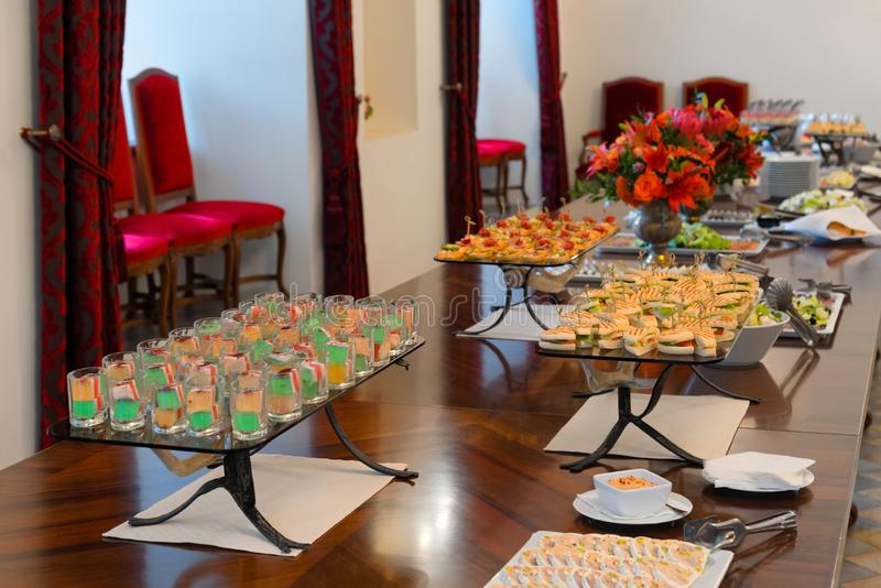 Party table setting, catering royalty free stock photos