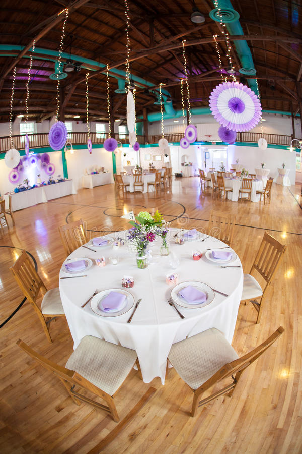 Party Tables In Gymnasium Royalty Free Stock Photos
