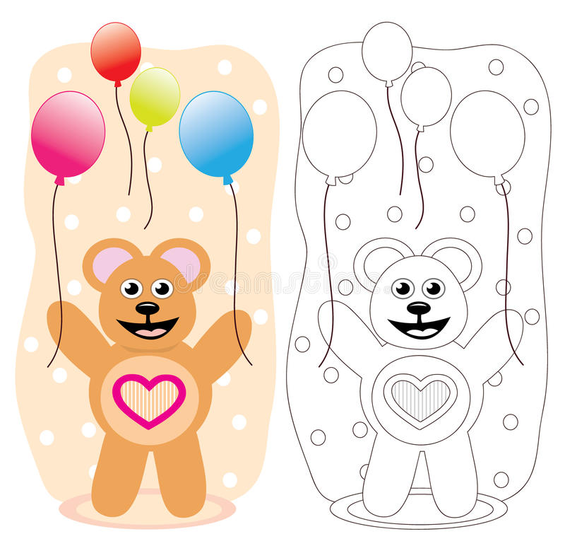 Party-Teddybär mit Ballonen lizenzfreie abbildung