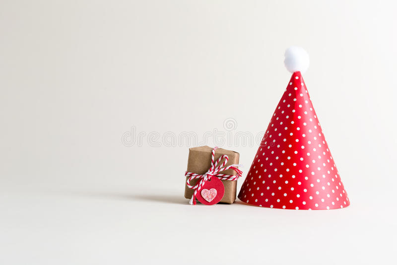 Party theme with with hats and present box royalty free stock images