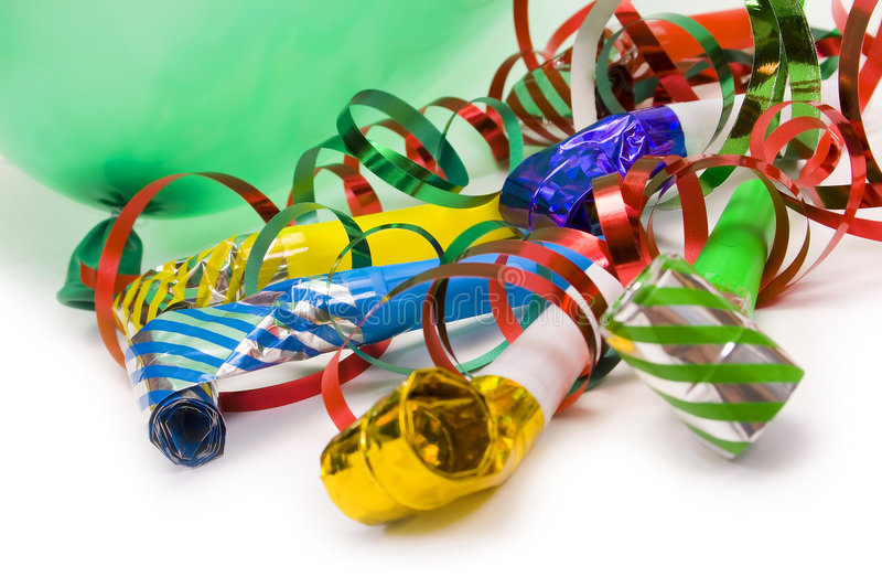Party time. Party blowers, balloon and paper streamers