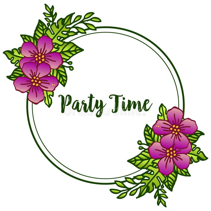 Party time banner design, with purple wreath frame element. Vector. Illustration stock illustration