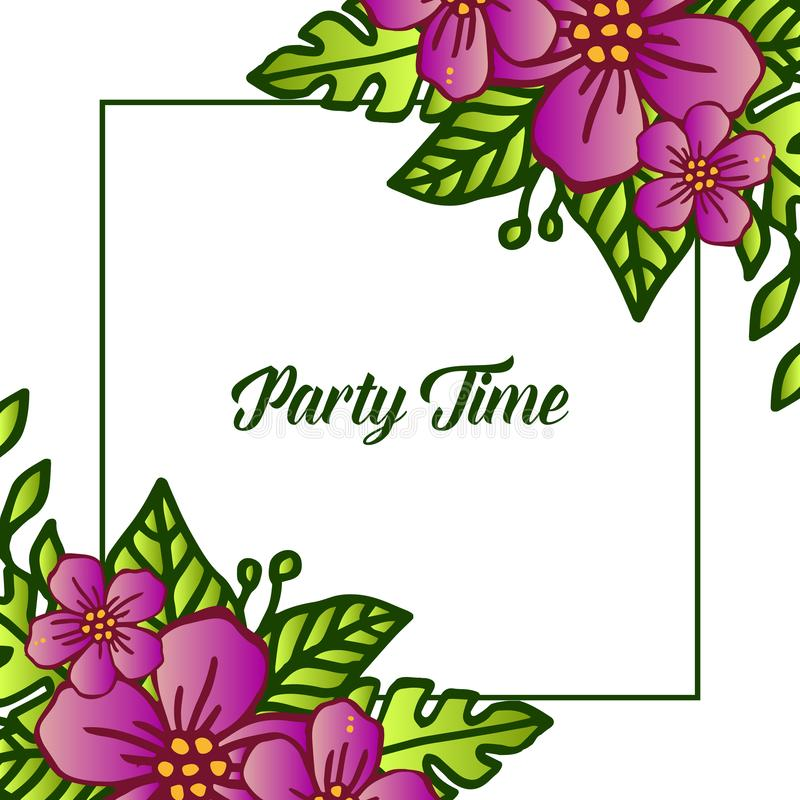 Party time banner design, with purple wreath frame element. Vector. Illustration vector illustration