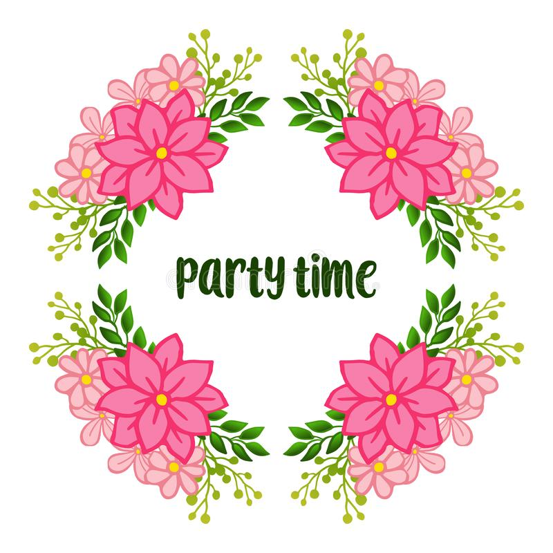Party time banner, feature of frame, for crowd of pink wreath. Vector stock illustration