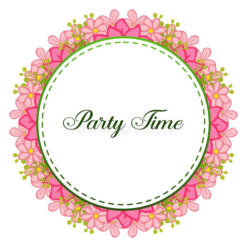 Party time banner, feature of frame, for crowd of pink wreath. Vector. Illustration stock illustration