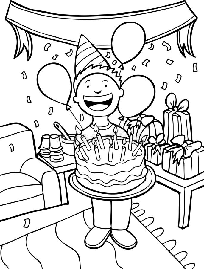 Party Time - Black And White Stock Vector - Illustration of clipart, cake: 9584366