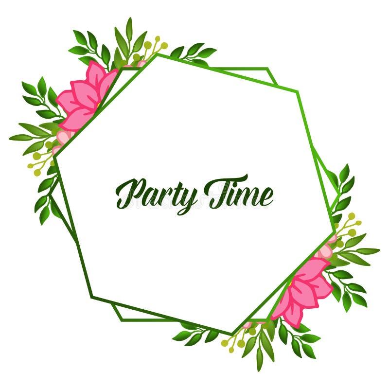 Party time card ornate, with vintage leaf floral frame background. Vector vector illustration
