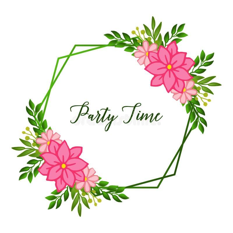 Party time card ornate, with vintage leaf floral frame background. Vector royalty free illustration