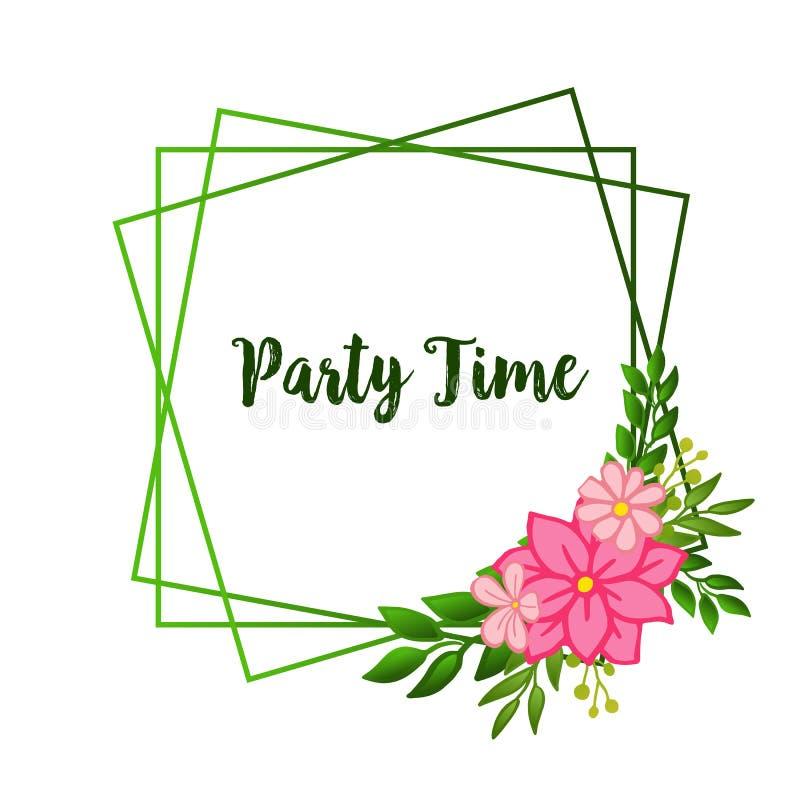 Party time card ornate, with vintage leaf floral frame background. Vector stock illustration