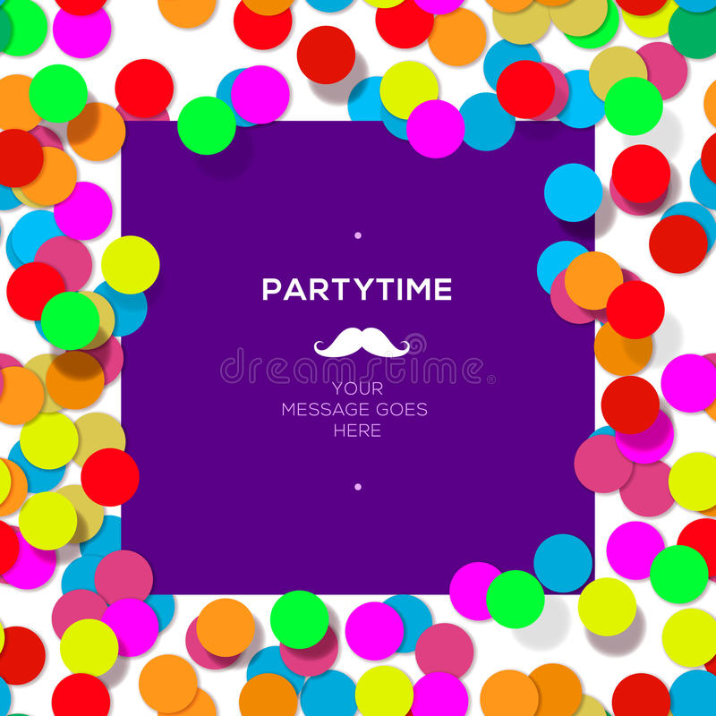 Free Party Time Design Template With Confetti. Stock Image - 41181651