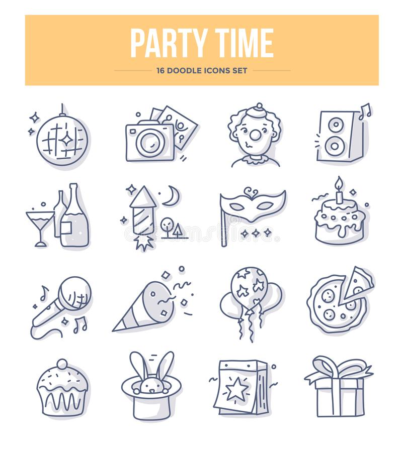 Party Time Doodle Icons vector illustration