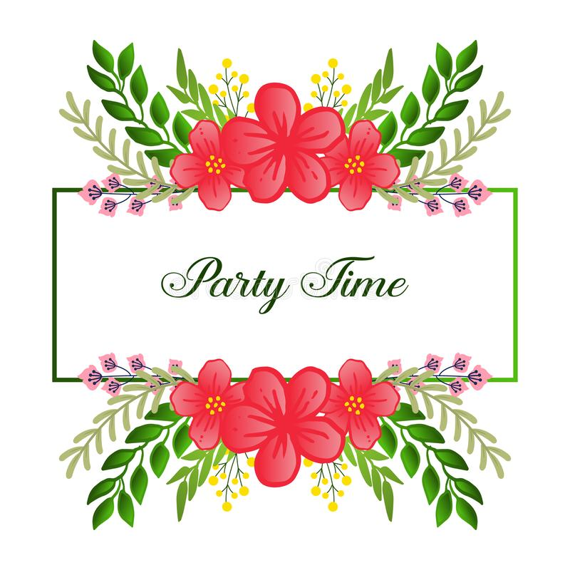 Party time invitation template, with retro style of green leaves and flower frame. Vector. Illustration royalty free illustration