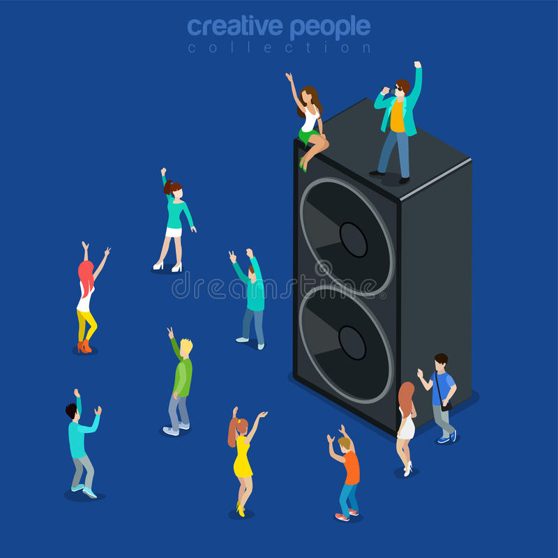 Party time music show dancing speaker flat isometric vector 3d. Party time music show flat 3d isometry isometric concept web vector illustration. Micro joyful royalty free illustration