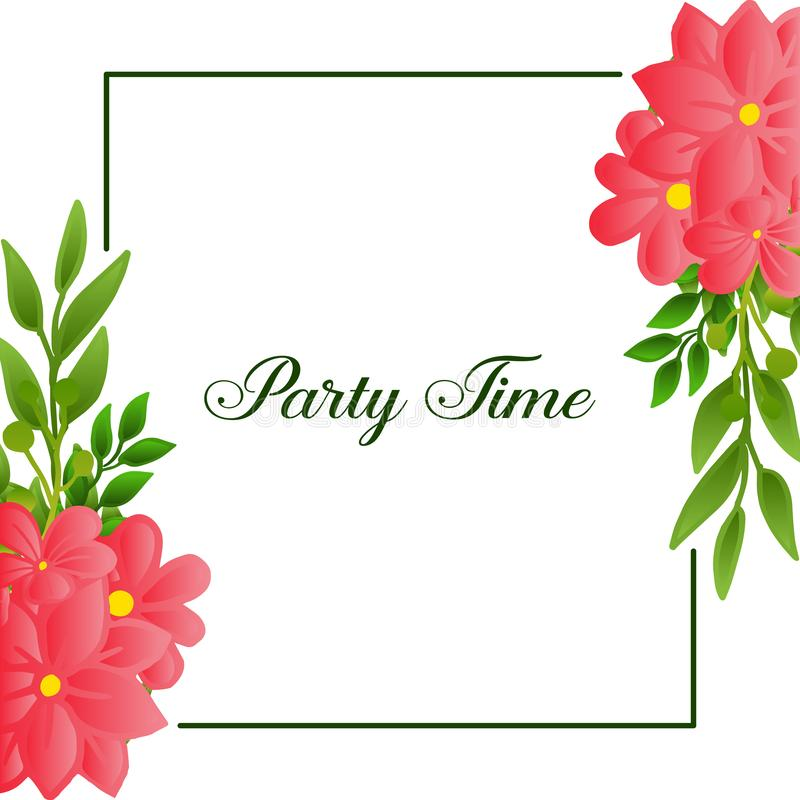 Party time poster design, with graphic beauty of wreath frame. Vector. Illustration stock illustration