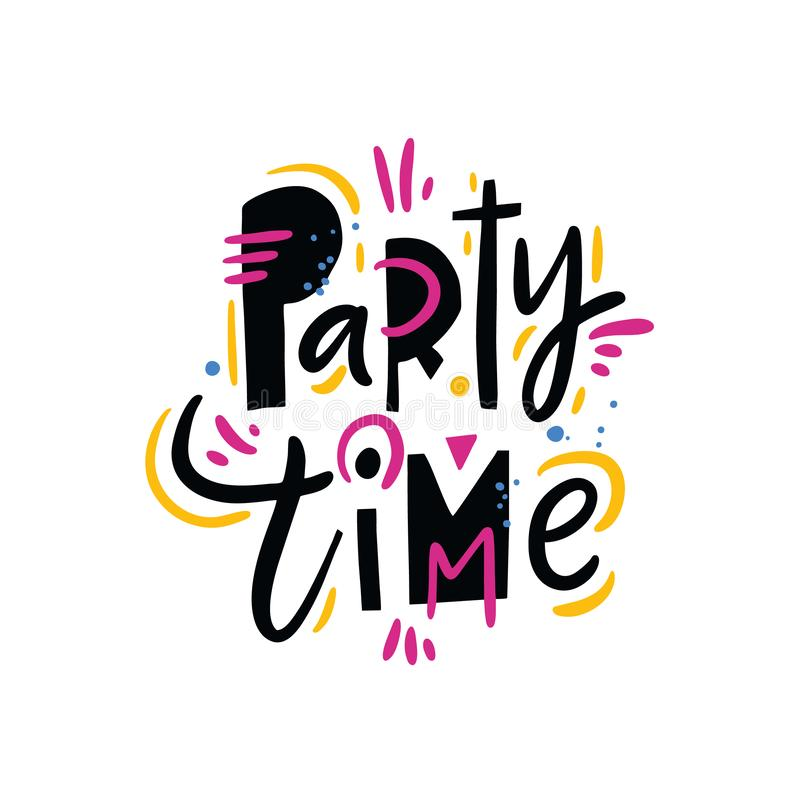 Party Time summer phrase. Hand drawn vector lettering quote. Isolated on white background royalty free illustration