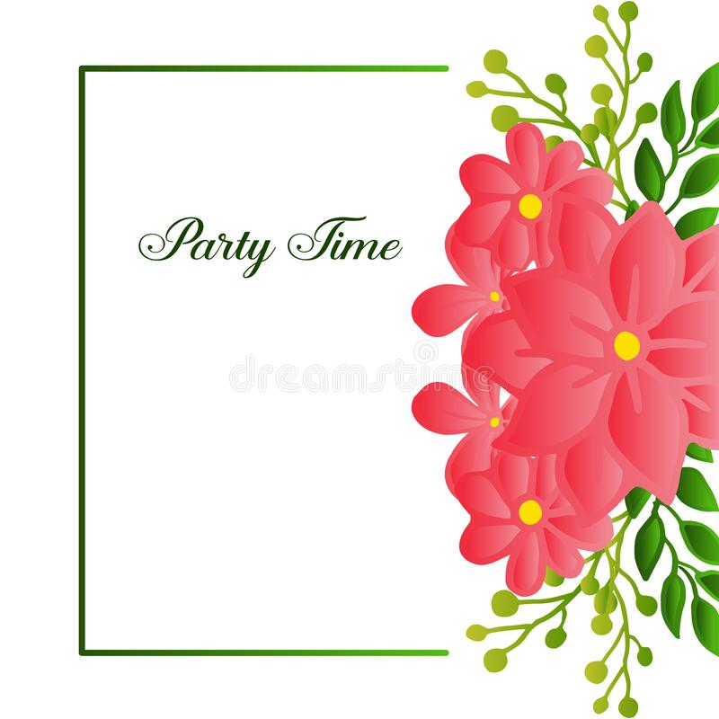 Party time text card, with simple retro design of leaf flower frame. Vector. Illustration royalty free illustration