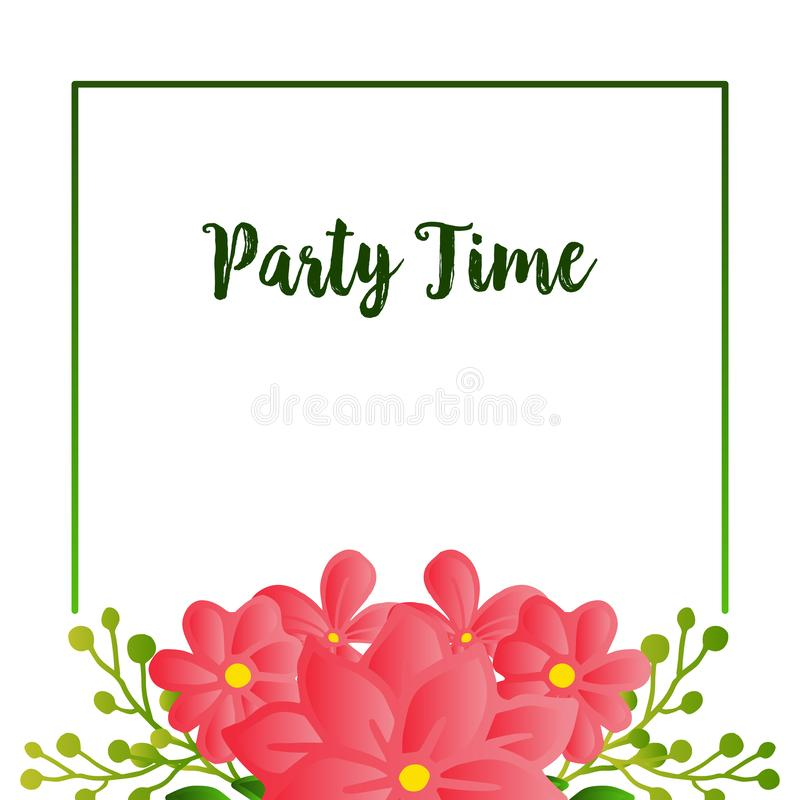 Party time text card, with simple retro design of leaf flower frame. Vector. Illustration stock illustration