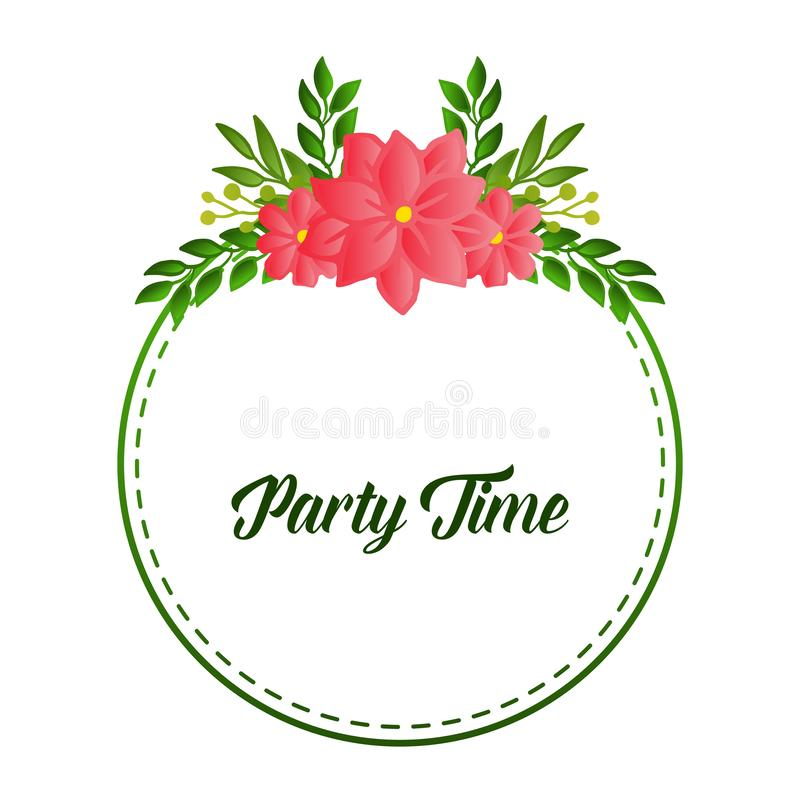 Party time text card, with simple retro design of leaf flower frame. Vector. Illustration vector illustration