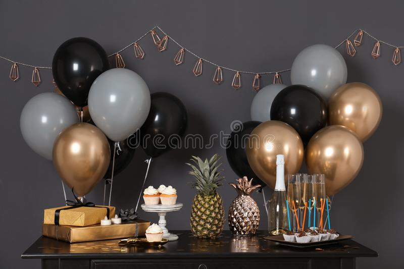 Party treats and items on table royalty free stock images