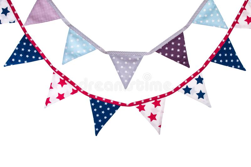 Party triangle bunting flags hanging on the rope. stock images
