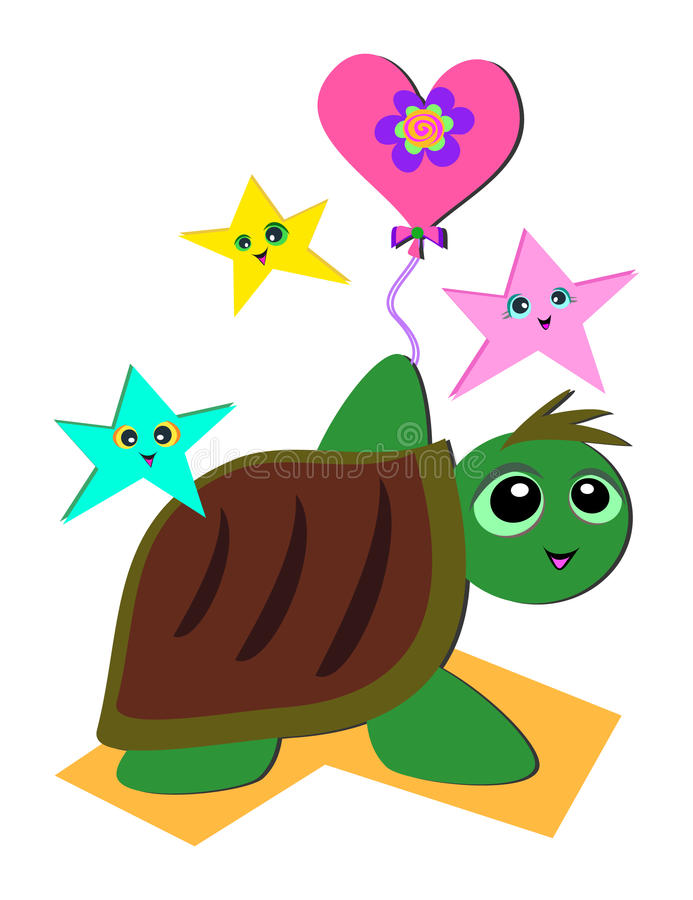 Party Turtle. This Turtle loves to party with his balloon and friendly stars stock illustration