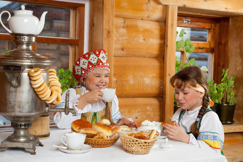 Party in a village in the old style royalty free stock photography