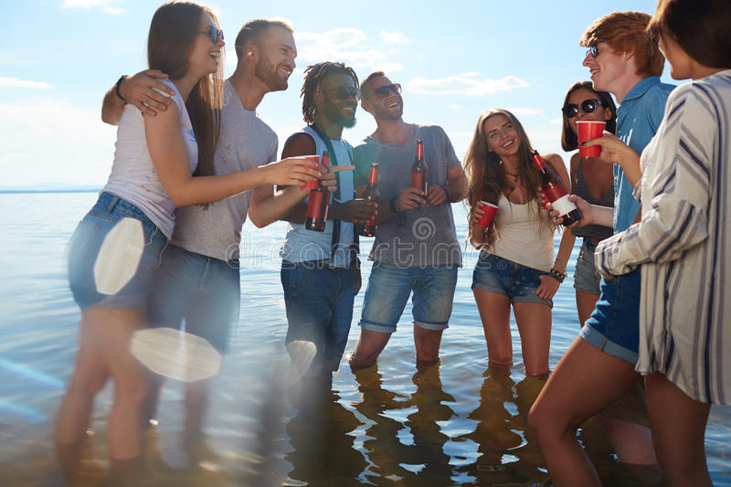 Party in water stock photography