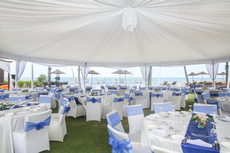 Party or wedding set up. With ocean view stock photo
