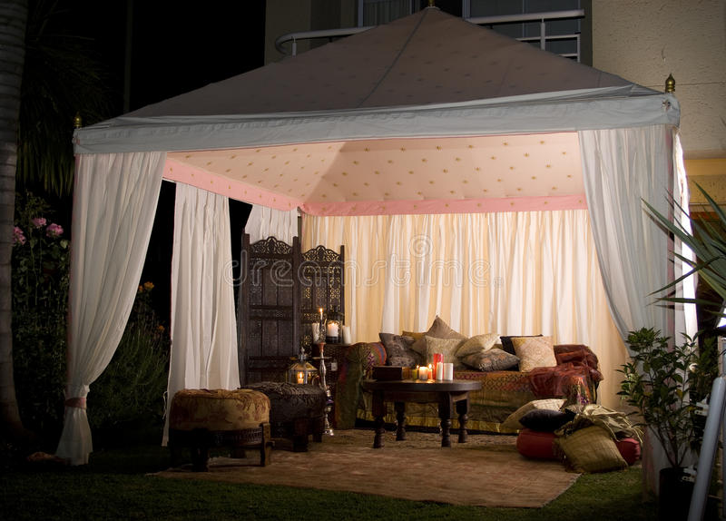 Party Or Wedding Tent At Night Royalty Free Stock Images