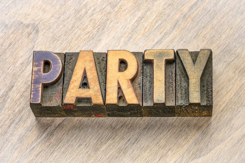 Party word in wood type stock photography