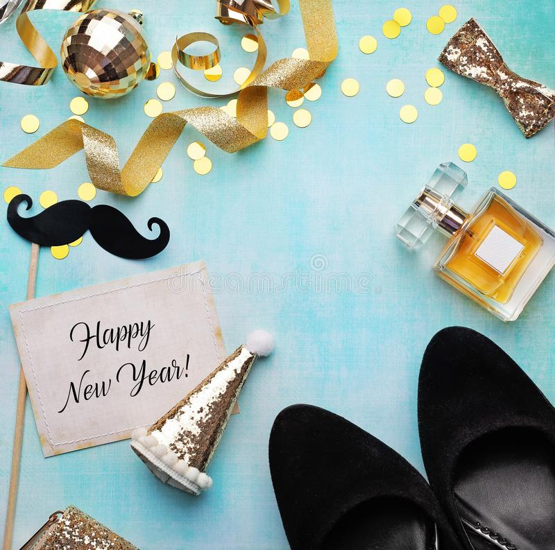 Party-Zeitzubehör, glückliches neues Jahr Kopierplatz für Text stockbild