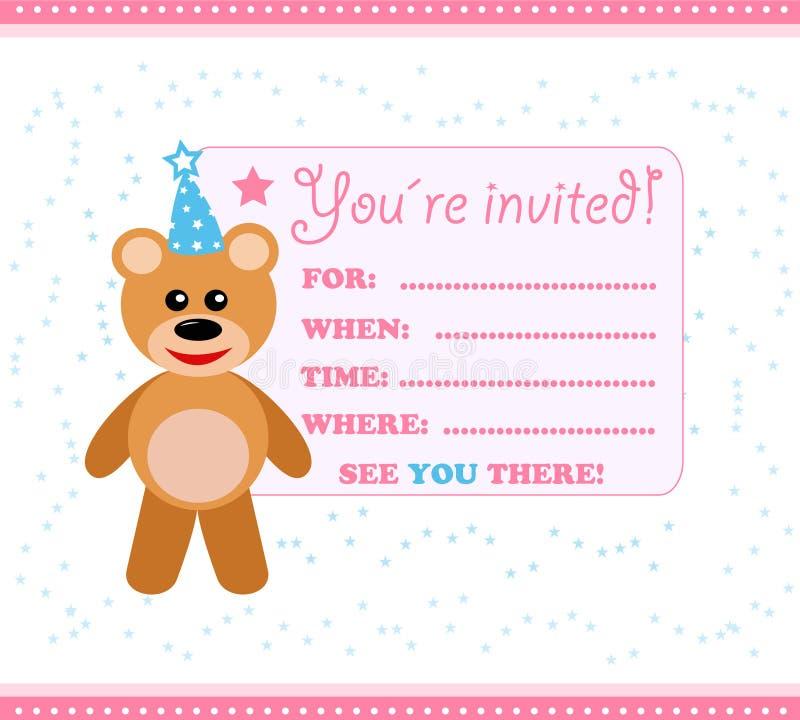 Partyeinladungskarte mit Teddybären stock abbildung