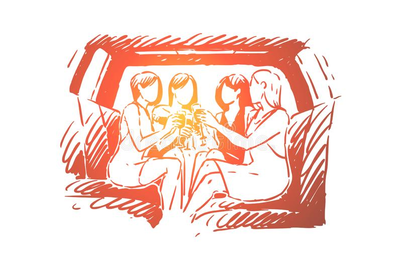 Partying com os amigos, gastando o fim de semana no partido, a amizade entre adultos, a cerveja bebendo dos povos e a dança ilustração royalty free