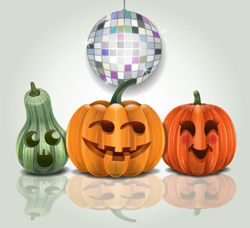 Partying Kürbise Halloweens lizenzfreie abbildung