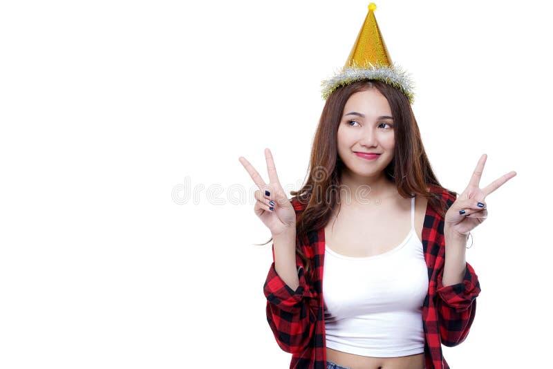 Partyjna dziewczyna z confetti pojęciem, kopii przestrzeń dla twój teksta zdjęcie stock