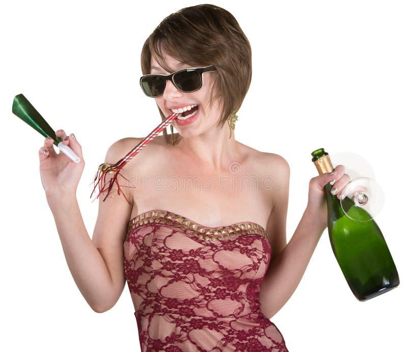Partyjna dziewczyna z winem i Kazoo obraz stock