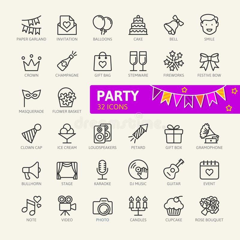 Partyjna element sieci ikona ustawia - zarysowywa ikona set ilustracja wektor