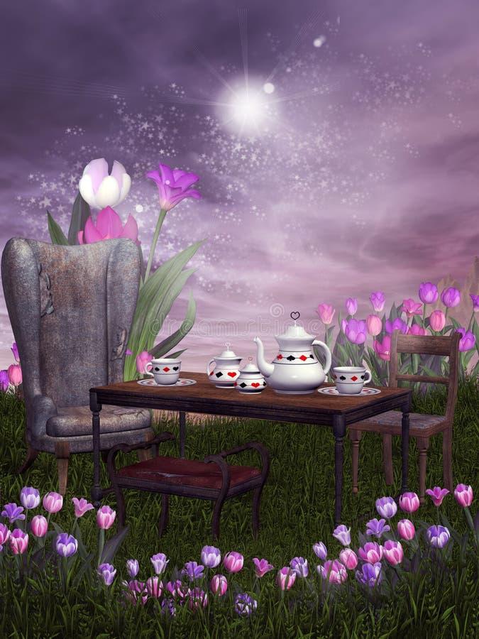 partyjna fantazi herbata royalty ilustracja