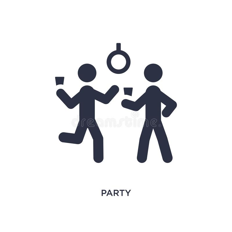 Partyjna ikona na białym tle Prosta element ilustracja od aktywności pojęcia royalty ilustracja