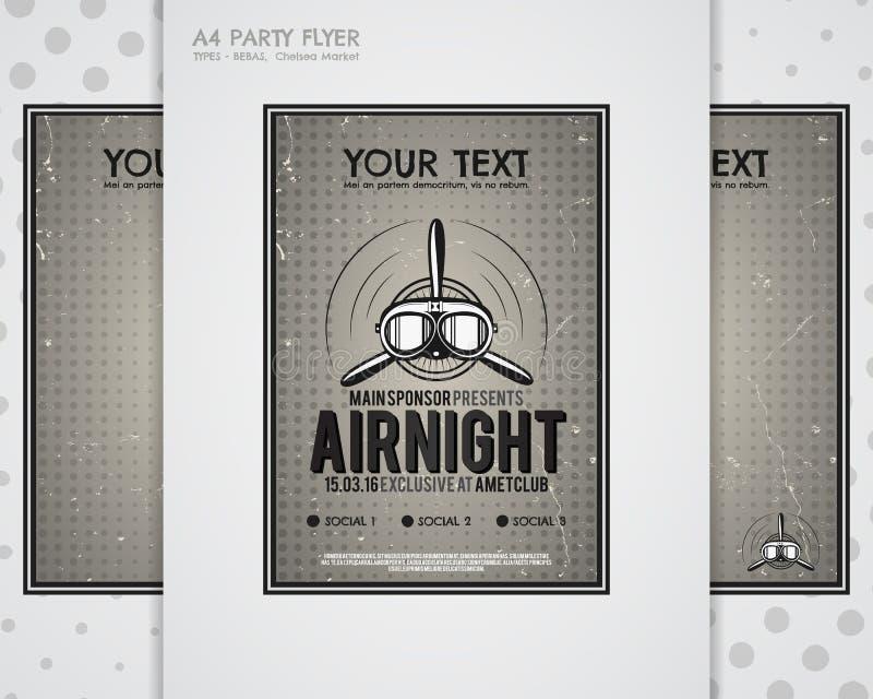 Partyjna ulotka, samolotowe broszurki, pokrywa, świetlicowi nocy strony układu szablony Halftone kropkujący projekt, retro minima ilustracji