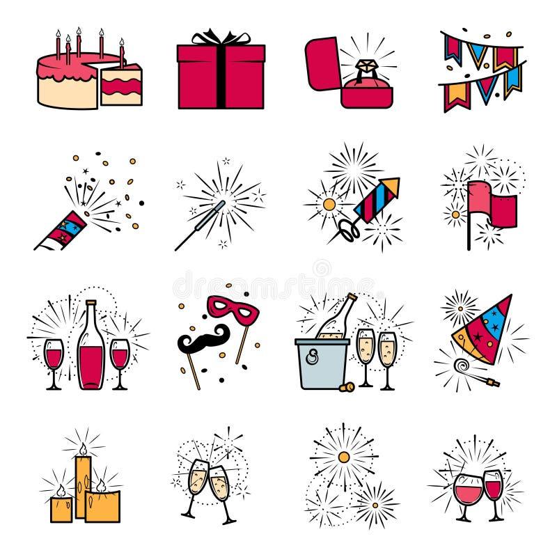 Partyjne świętowanie fajerwerków ehgagement ikony ustawiać ilustracja wektor