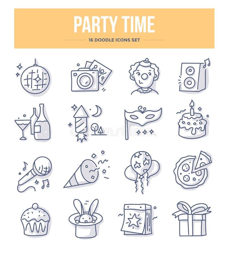 Partyjne czasu Doodle ikony ilustracja wektor