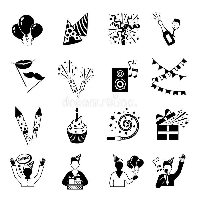 Partyjne ikony Czarny I Biały ilustracji