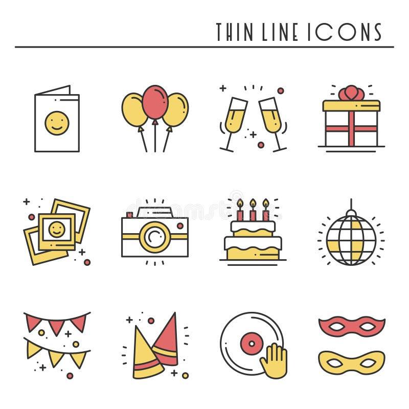 Partyjnego świętowania cienkie kreskowe ikony ustawiać Urodziny, wakacje, wydarzenie, karnawał świąteczny Podstawowe partyjne ele royalty ilustracja