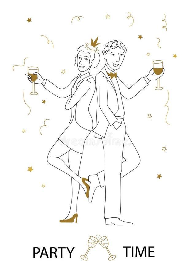 Partyjnego czasu wektorowa kreskowa sztuka royalty ilustracja